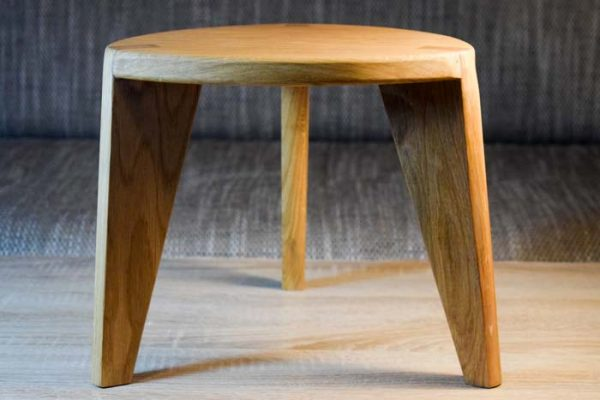 Oak three leg stool