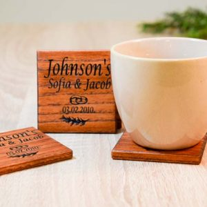 Set of custom wood coasters stained or natural color